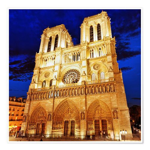 Premium poster Notre Dame at night