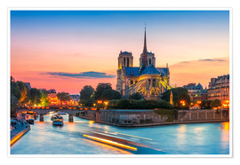 Premium poster Notre Dame at sunset, Paris