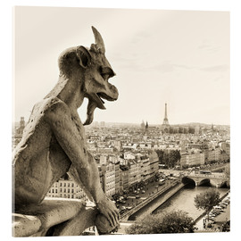 Acrylic print  Gargoyle of Notre Dame over Paris