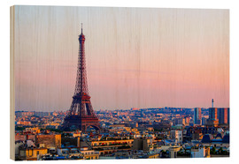 Wood print  Eiffel Tower in the evening, Paris