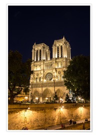 Premium poster Notre Dame by night, Paris