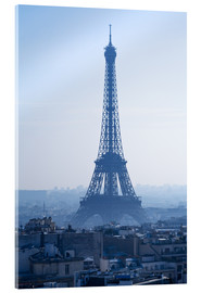 Acrylic glass  Eiffel Tower on blue spring morning