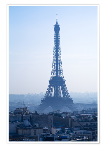Poster Eiffel Tower on blue spring morning