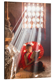 Aluminium print  Young monk in Bagan, Myanmar