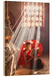Wood print  Young monk in Bagan, Myanmar