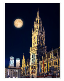Poster  Night scene from Munich Town Hall