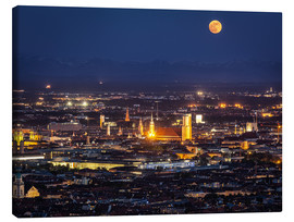 Canvas  Munich Skyline with yellow full moon
