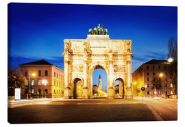 Canvas  Victory Arch in Munich at night