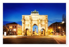 Poster  Victory Arch in Munich at night