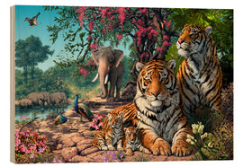Wood print  Tiger Sanctuary - Steve Read
