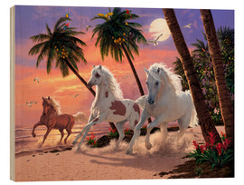 Wood print  White Horses - Steve Read