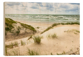 Wood print  Sand dunes on the Baltic sea