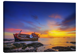 Canvas print  Shipwreck in the sunset