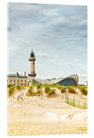 Acrylic print  Old lighthouse and Teepott building at Warnemünde