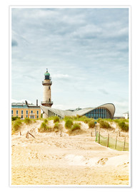 Premium poster  Old Lighthouse and Teapot Building at Warnemünde