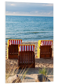 Foam board print  Three beach chairs at the baltic sea
