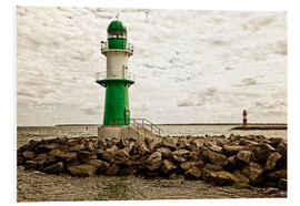 Foam board print  Green and red lighthouse at the harbor entrance of Warnemünde