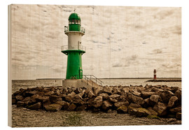 Wood print  Green and red lighthouse at the harbor entrance of Warnemünde