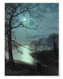 Premium poster Watching a Moonlit Lake