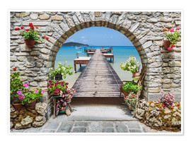 Premium poster  Ocean view through a stone arch