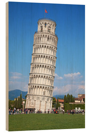 Wood print  Leaning tower of Pisa, Italy