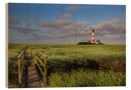 Wood print  Lighthouse in the salt marshes on the North Coast
