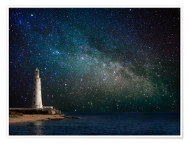Premium poster  Lighthouse in starlight