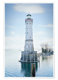 Premium poster beautiful lighthouse at Lindau
