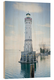 Wood print  beautiful lighthouse at Lindau