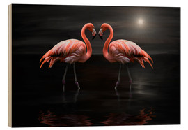 Wood  Flamingos at night - Heike Langenkamp