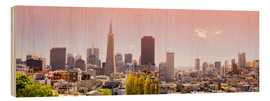 Wood print  San Francisco Skyline Red - Michael Rucker