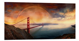 Foam board print  Frisco Golden Gate Rainbow - Michael Rucker