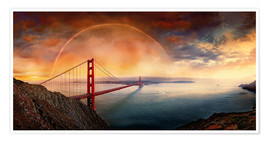 Premium poster Frisco Golden Gate Rainbow
