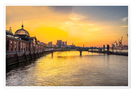 Premium poster  Hamburg - historic fish market at dawn