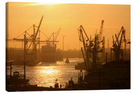 Canvas print  Morning light in the Hamburg harbor