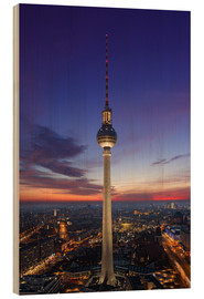 Wood print  Berlin TV tower at night