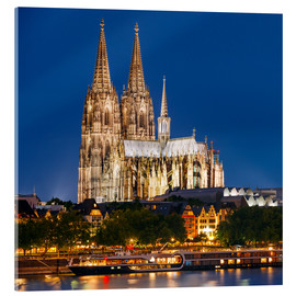 Acrylic glass  Night view of Cologne Cathedral