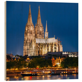 Wood print  Night view of Cologne Cathedral