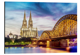 Aluminium print  Lighted Cathedral with Rhine and Bridge, Cologne