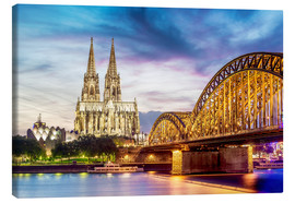 Canvas print  Lighted Cathedral with Rhine and Bridge, Cologne