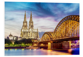 Foam board print  Lighted Cathedral with Rhine and Bridge, Cologne