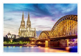 Premium poster Lighted Cathedral with Rhine and Bridge, Cologne