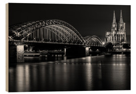 Wood print  Cologne Cathedral and bridge