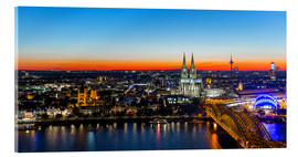 Acrylic glass  Colorful Cologne skyline at night
