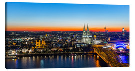 Canvas print  Colorful Cologne skyline at night