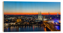 Wood print  Colorful Cologne skyline at night