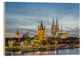 Wood print  Overlooking the historic center of Cologne