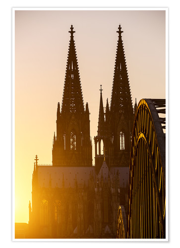 Premium poster Sunset behind the Cologne Cathedral