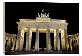 Wood print  Brandenburg Gate in Berlin by night