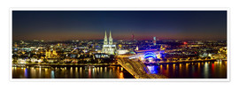 Premium poster A panoramic view of cologne at night